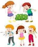 Crianças que têm o frio e a febre ilustração do vetor