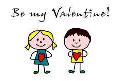 Crianças que tiram - dia de Valentim ilustração royalty free