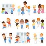 Crianças que tiranizam o grupo dos weaks, comportamento mau, conflito entre crianças, zombaria e tiranizando na ilustração do vet ilustração stock