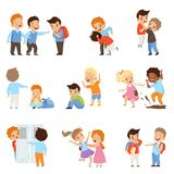 Crianças que tiranizam os weaks grupo, meninos e meninas zombando colegas, comportamento mau, conflito entre crianças, zombaria e ilustração stock