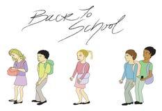 De volta à ilustração da escola com texto ilustração do vetor
