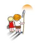 Crianças que veem um por do sol em férias de verão Imagem de Stock Royalty Free