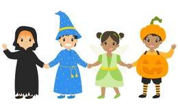 Crianças que vestem o vetor dos desenhos animados do traje de Dia das Bruxas ilustração do vetor