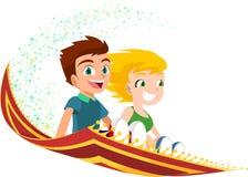 Crianças que voam em um tapete mágico ilustração do vetor
