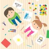 Crianças quetrabalham o processo Caçoa a ilustração da faculdade criadora ilustração stock