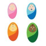Crianças recém-nascidas da ilustração do vetor de nações diferentes As crianças envolvidas em uma cobertura Bebê pequeno ilustração do vetor