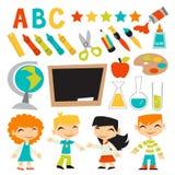Crianças retros de volta ao grupo da escola ilustração royalty free