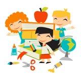Crianças retros de volta aos livros e aos artigos de papelaria de escola ilustração stock