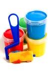 Crianças rolo e frasco com pintura colorida Fotografia de Stock