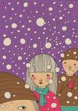 Crianças sob a queda de neve fotos de stock royalty free