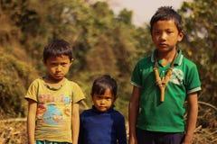 Crianças tribais de Garo foto de stock