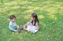 Crian?as asi?ticas que jogam junto no jardim verde do gramado Jogo da irm? com seu irm?o mais novo exterior fotos de stock
