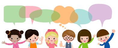 Crian?as bonitos com bolhas do discurso, grupo de crian?as diversas e nacionalidades diferentes com as bolhas do discurso isolada ilustração do vetor