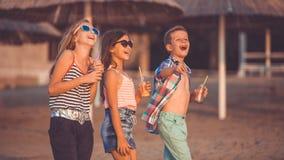 Crian?as felizes que t?m o divertimento na praia fotografia de stock royalty free