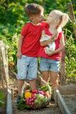 Crian?as nos vegetais das picaretas do jardim imagens de stock