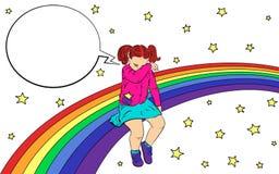 Crian?a triste no arco-?ris A menina foi ofendida, triste e gritar Com bolha do discurso Vetor ilustração do vetor