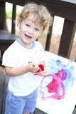 Criança Art Fingerpainting Fotos de Stock