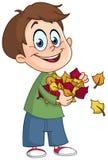 Criança com folhas de outono Fotografia de Stock Royalty Free