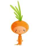 Criança de sorriso feliz dos desenhos animados que veste o traje engraçado da cenoura do carnaval Foto de Stock