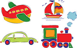 A criança desenhou o carro, o plano, o navio e o trem, vetor Imagens de Stock