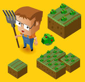 Criança do fazendeiro e sua exploração agrícola Fotos de Stock Royalty Free