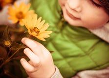 Criança e flor Foto de Stock Royalty Free