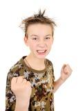 Criança irritada na pose do pugilista Fotos de Stock