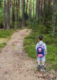 Criança na estrada de floresta Imagens de Stock Royalty Free