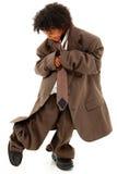 Criança preta bonita da menina no terno de negócio flácido Imagem de Stock Royalty Free