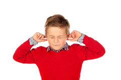 Criança que cobre as orelhas Foto de Stock Royalty Free