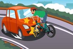 Criança que monta uma bicicleta em um acidente com um carro Fotografia de Stock Royalty Free