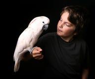Criança que prende o pássaro brincalhão Fotos de Stock Royalty Free