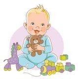 Criança que sorri com brinquedos Fotos de Stock Royalty Free