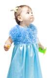 A criança tem uma pergunta, e expressa-a Imagens de Stock Royalty Free