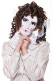 A criança vestida como a vida gosta da boneca Imagem de Stock Royalty Free