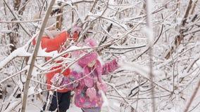 Crianças cansados saídas de uma floresta coberto de neve video estoque