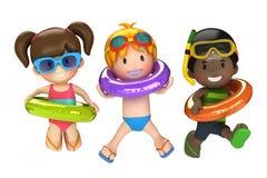 Crianças com anel inflável Imagens de Stock