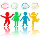 Crianças com bolhas do bate-papo Foto de Stock Royalty Free