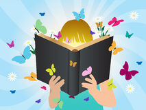 Crianças do conceito da imaginação do vetor que leem a história  Fotografia de Stock