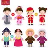 Crianças do mundo; Japão, China, Coreia e Mongólia Fotografia de Stock Royalty Free