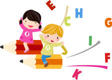 Crianças e inglês do divertimento Foto de Stock Royalty Free
