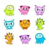 Crianças engraçadas do monstro dos desenhos animados Fotos de Stock