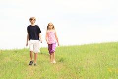Crianças na exploração agrícola de meadow Fotografia de Stock