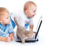 Crianças pequenas, gatinho, e portátil Imagem de Stock
