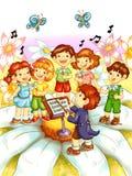 Crianças que cantam Imagens de Stock Royalty Free
