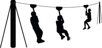 Crianças que jogam o vetor da silhueta Imagem de Stock