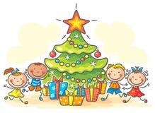 Crianças que obtêm presentes para o Natal Fotografia de Stock Royalty Free