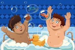 Crianças que têm um banho de espuma Foto de Stock