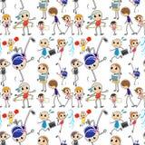 Crianças sem emenda que fazem atividades diferentes Fotografia de Stock