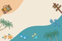 Criative lata układ z plaży i podróży elementami kolorowe t?o Lato jest nadchodz?cym poj?ciem royalty ilustracja